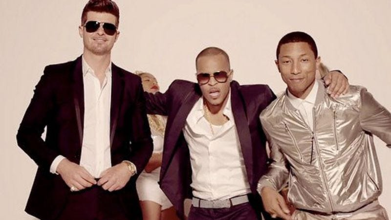 Aside from these guys, obviously (Screengrab: Blurred Lines video/YouTube)
