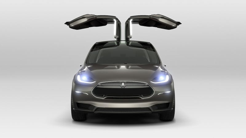 Illustration for article titled Yes, The Tesla Model X Will Have Those Crazy Falcon Doors