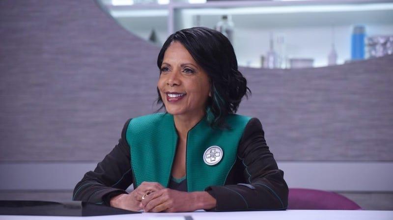 Penny Johnson Jerald as Dr. Finn on The Orville.