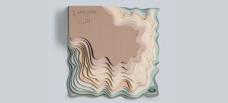 Illustration for article titled This Topographic Calendar Turns Your To-Do List Into an Actual Mountain