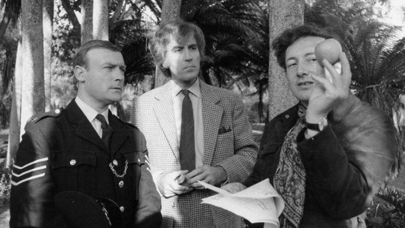 Hardy (right) directing Edward Woodward and Christopher Lee on the set of The Wicker Man.