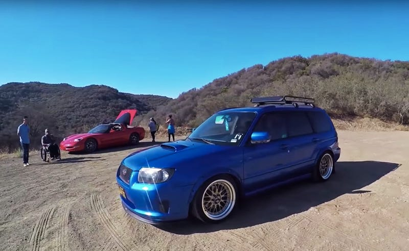 Major's STI-swapped Subaru Forester XT (Images via The Smoking Tire/YouTube)
