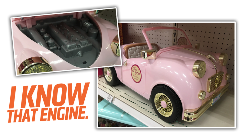Illustration for article titled This Very Pink Toy Ride-On Car Has A Surprisingly Specific Engine Design
