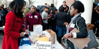 A voter-registration drive at North Carolina Central University in 2012 (Christopher Diltz for Obama for America/Flickr)