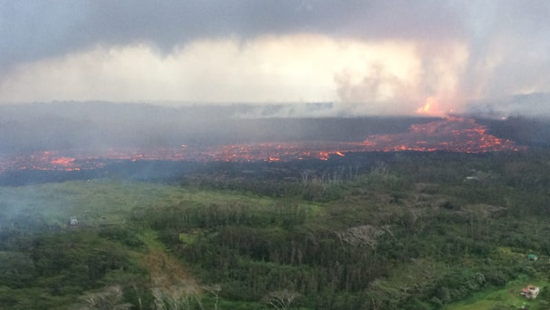 Lava flow from fissure 8. The lava channel was estimated to be about 100 feet wide.