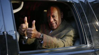 Bill Cosby gives a thumbs-up as he leaves the Montgomery County Courthouse in Norristown, Pa., Feb. 2 , 2016.KENA BETANCUR/AFP/Getty Images