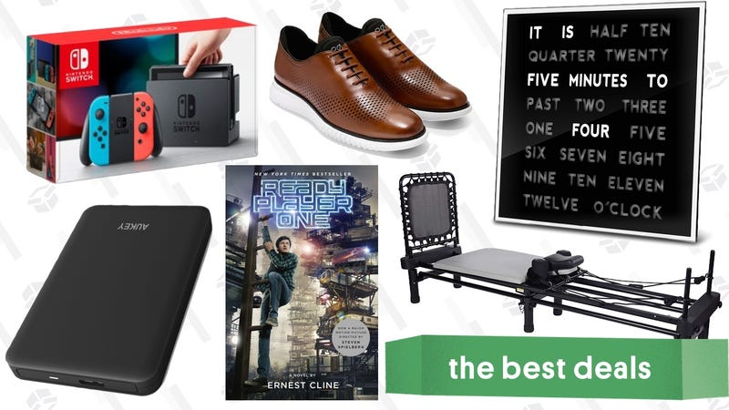 Illustration for article titled Thursday's Best Deals: Nintendo Switch Bundle, Unique Clock, Pilates Machine, Ebooks, and More