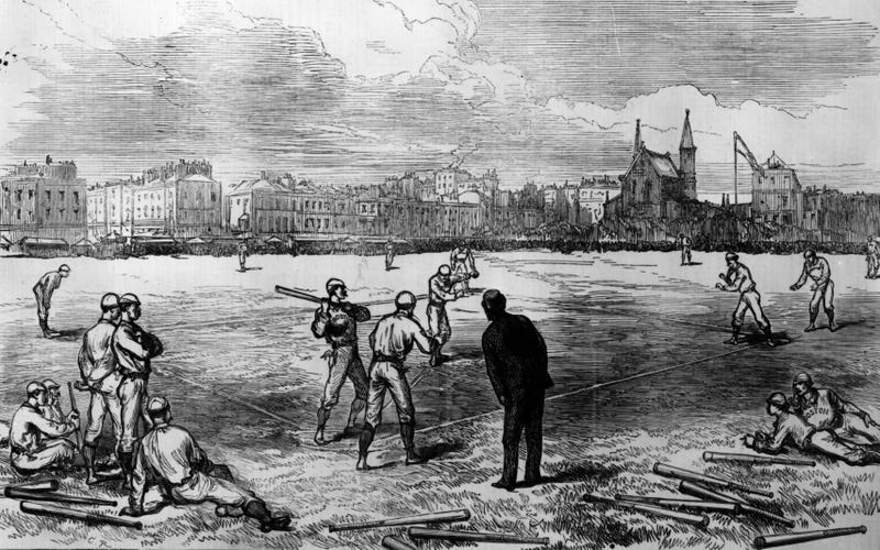 Baseball in May, 1874. Credit: Hulton Archive/Getty Images