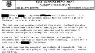 Several Seattle high school students could face disciplinary action for posting incendiary comments about African-American students on an opposing basketball team.Screenshot of Seattle Police Department report