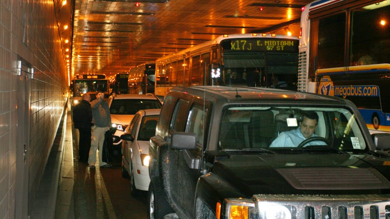 A different traffic jam inside the Lincoln Tunnel. Photo credit: Paul Kazdan/AP Images
