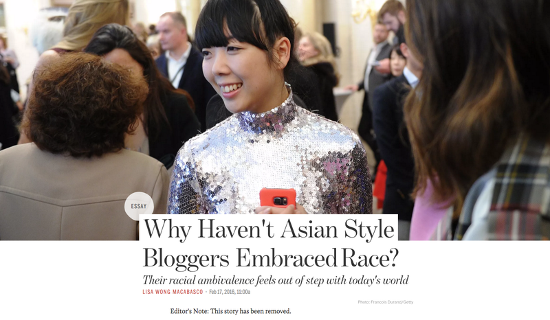 Illustration for article titled Why Did Racked Delete an Essay About Asian Style Bloggers and Their 'Racial Ambivalence'?