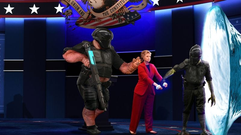 Illustration for article titled Intergalactic Law Enforcement Officers Place Energy Shackles On Hillary Clinton