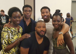 Cast members and director of the upcoming Black Panther movie (clockwise from left): actors Danai Gurira, Chadwick Boseman, Michael B. Jordan and Lupita Nyong'o and director Ryan CooglerTwitter