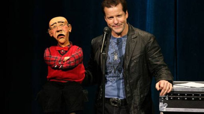 Illustration for article titled Or perhaps God loves us after all: The Jeff Dunham Show loses more than half its audience in Week 2