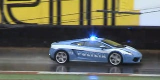 Illustration for article titled Lamborghini Gallardo LP560-4 Police Car Patrols Monza
