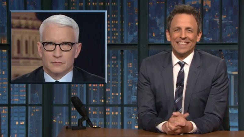 Illustration for article titled Seth Meyers stares down the eye-rolling over the Comey firing