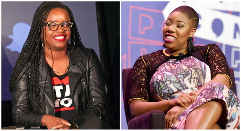 Brittany Packnett, left, participates in a panel at The Harvey B. Gantt Center for African American Arts + Culture on May 11, 2017 in Charlotte, North Carolina; Symone Sanders at the 'Pod Save America' panel during Politicon on July 29, 2017 in Pasadena, California.