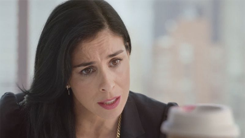 Sarah Silverman tells a coffee cup goodbye, because she is about to vanish into a formless world of void.