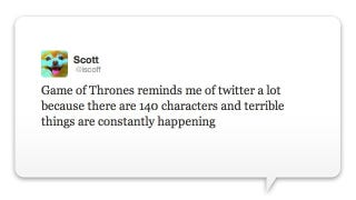 Illustration for article titled Behold, The Ultimate Game of Thrones Tweet