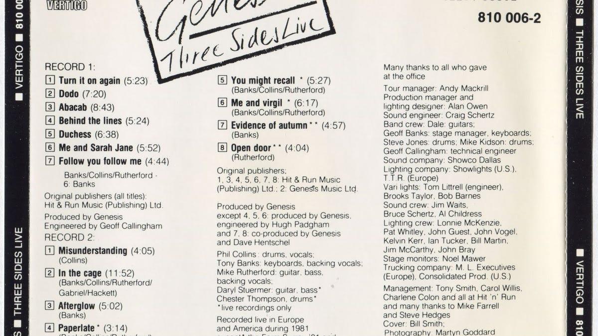 genesis three sides live 1981