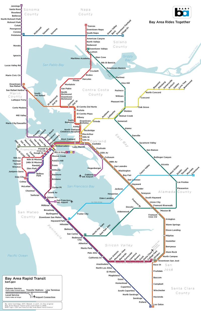 San Jose Subway Map.A Map Of San Francisco S Subway System That Almost Was