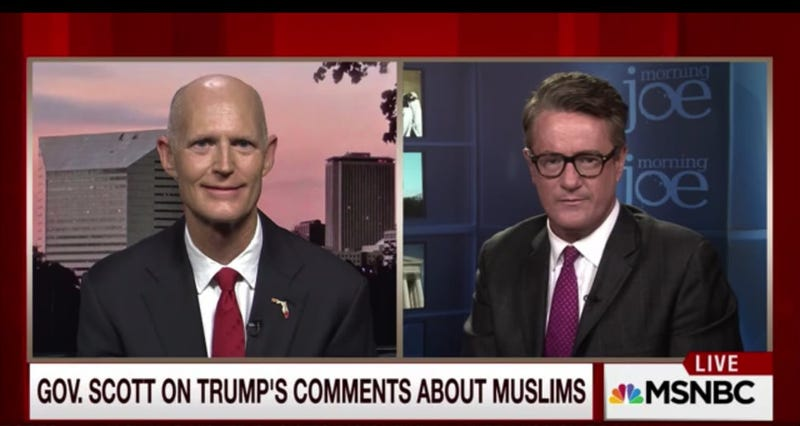 Illustration for article titled On MSNBC, Rick Scott Just Really Can't Quite Say Whether Muslims 'Hate America'