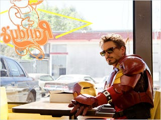 Illustration for article titled Tony Stark Takes a Load Off at Randy's Donuts