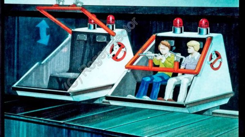 Illustration for article titled Now you can mourn concept art for a Ghostbusters ride that never was