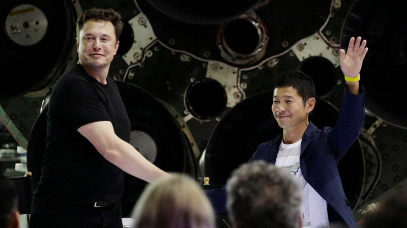 Elon Musk and Yusaku Maezawa at a SpaceX event on Monday.