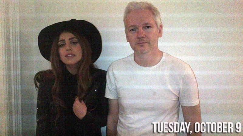 Illustration for article titled Lady Gaga Put on a Witch Hat and Had Dinner With Julian Assange