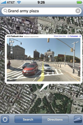 Illustration for article titled iPhone 2.2 Update Finally Brings Google Street View to Maps?