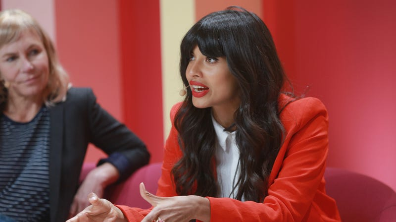 Jameela Jamil (right) with producer Marti Noxon at the Girlboss Rally on April 28.