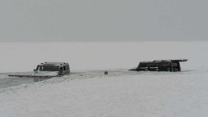 Illustration for article titled What Made You Think The Second Hummer Wouldn't Also Fall Through The Ice?