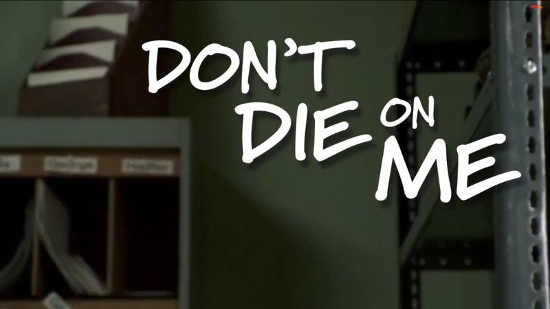 "Illustration for article titled This ""don't die on me"" supercut will probably die in your arms"