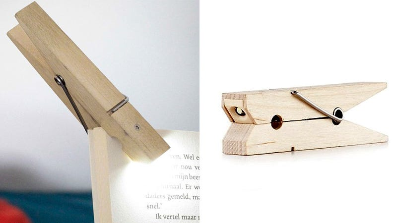 Illustration for article titled An LED Clothespin Makes For a Brilliant Book Light