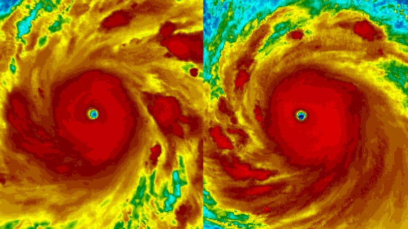 Angry planet. Hurricane Walaka is on the left and Super Typhoon Kong-rey is on the right.