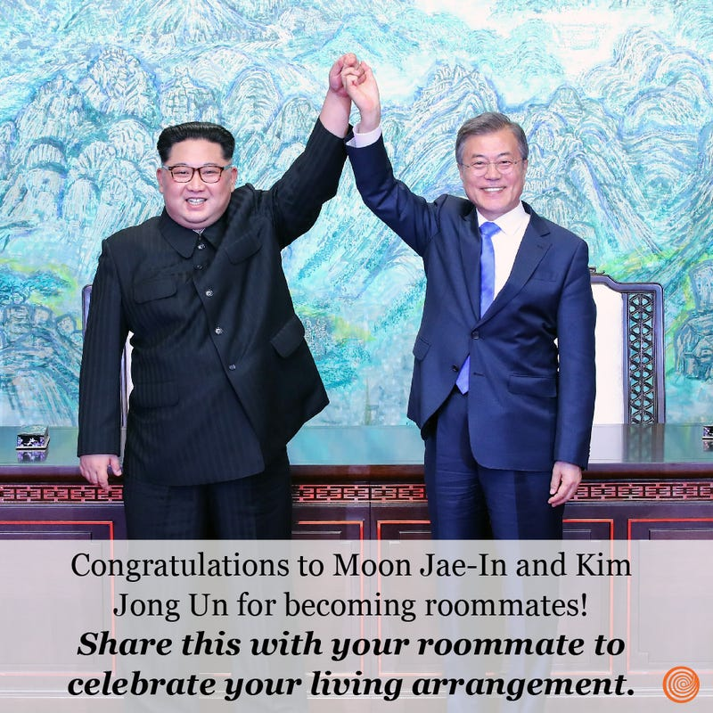 Illustration for article titled Congratulations To Moon Jae-In And Kim Jong Un For Becoming Roommates!