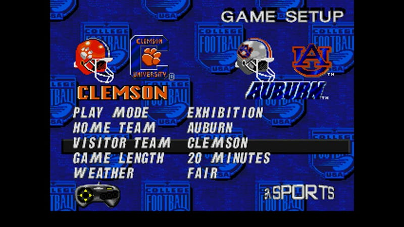 Illustration for article titled Tomorrow's Clemson-Auburn Game, Simulated In NCAA '97 With Updated Rosters