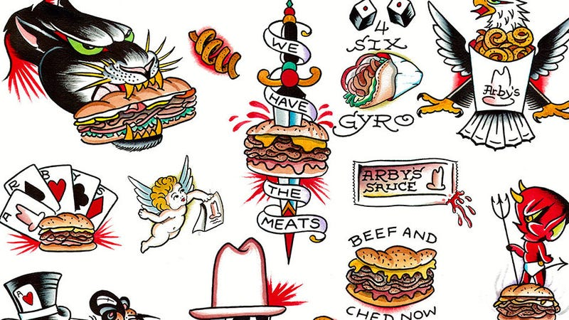 A selection of Arby's flash art drawn by artist Miguel 'Uzi' Montgomery