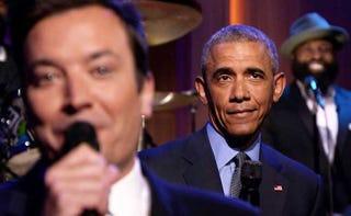 "Jimmy Fallon and President Barack Obama ""slow jamming"" the newsYouTube screenshot"