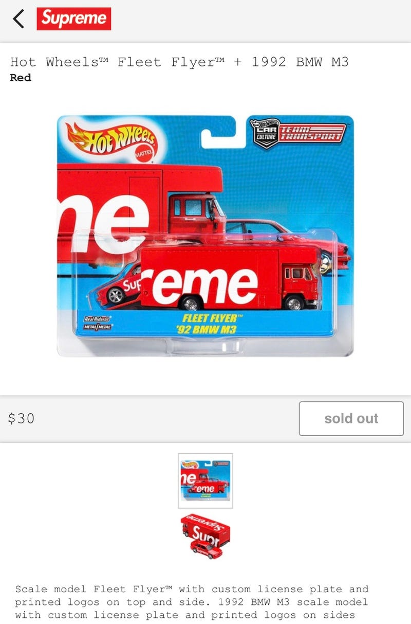 Illustration for article titled Hot Wheels Supreme branded Team Transport Sold Out in Seconds