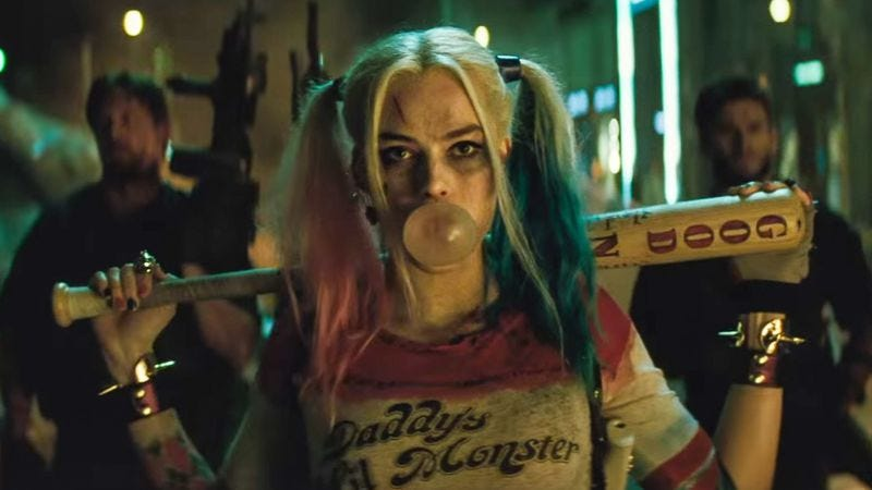 """Margot Robbie in Suicide Squad, probably getting ready to say """"darn it all"""""""