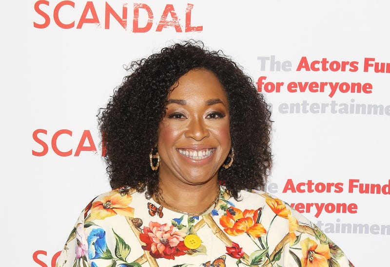 Shonda Rhimes arrives to the Scandal live stage reading of series finale to Benefit The Actors Fund held at El Capitan Theatre on April 19, 2018 in Los Angeles, California.