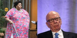 Ulanda Williams, who fell through the sidewalk in New York (nypost.com); Rupert Murdoch (Getty Images)