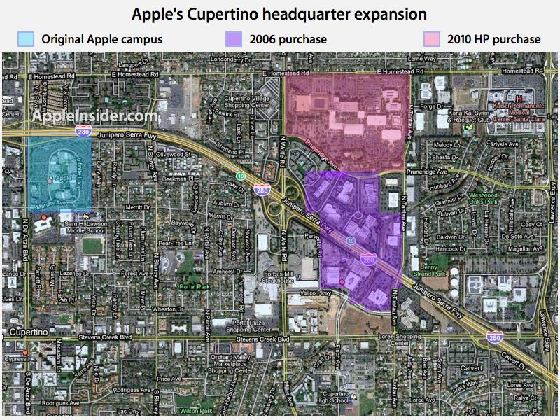 Illustration for article titled Apple Pitches Flag on HP's Land, Making Them the Largest Landholder in Cupertino
