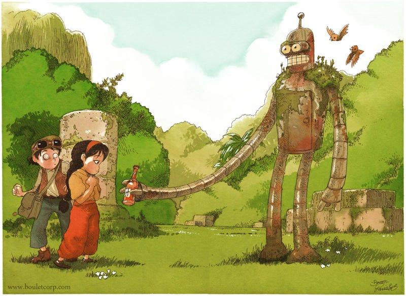 Illustration for article titled Bender dresses up as a Laputa robot for Halloween
