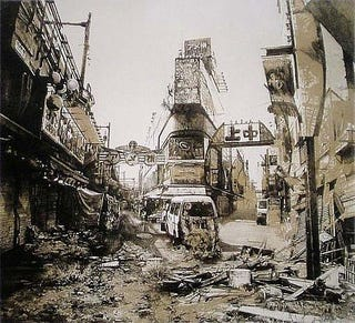 Illustration for article titled Lithographs Capture the Future Ruins of Post-Apocalyptic Tokyo
