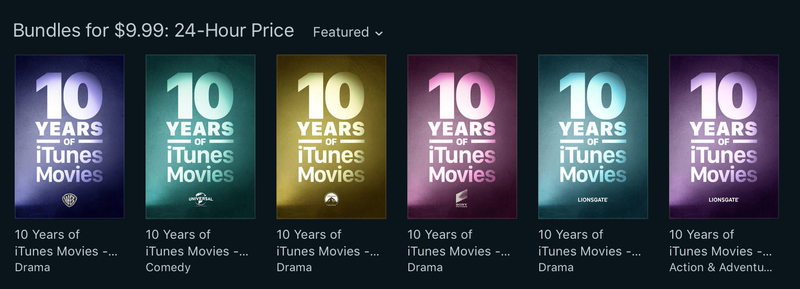 Illustration for article titled Today Only: Buy 10-Movie Bundles From iTunes For Just $10 Each
