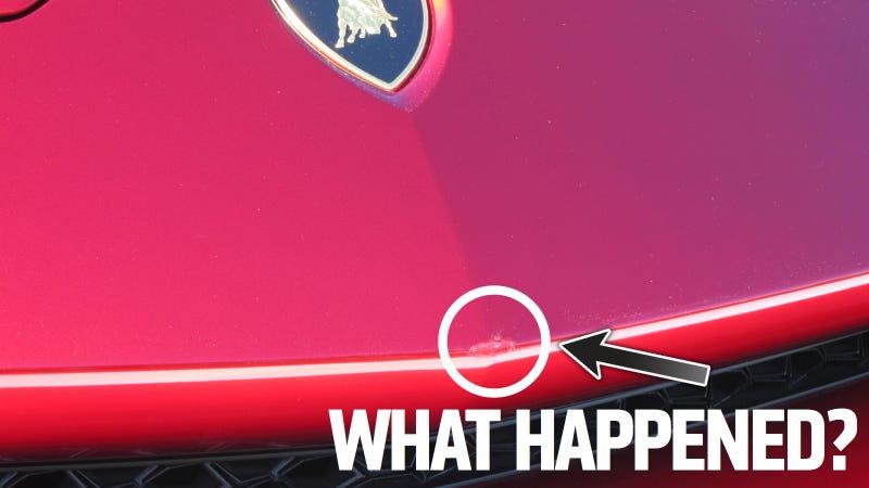 Illustration for article titled Who Damaged The Lamborghini SUV?