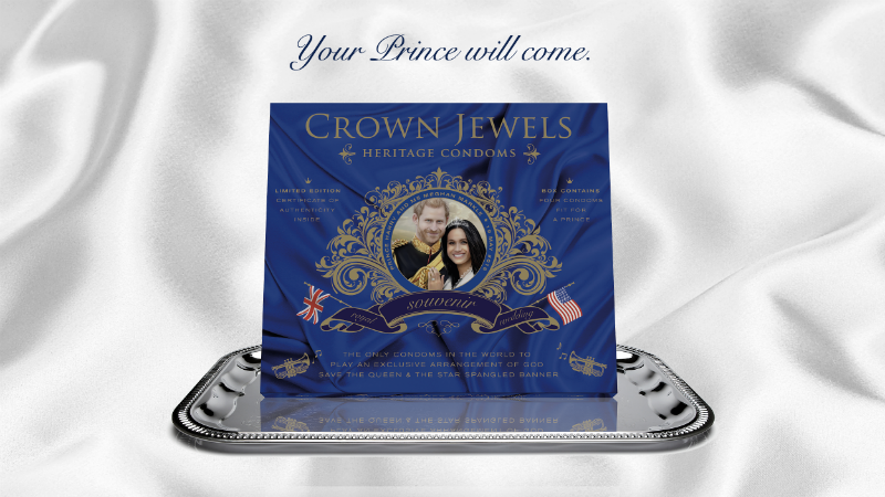Illustration for article titled Use These Prince Harry and Meghan Markle-Themed Condoms The Next Time You Fuck (Regally)
